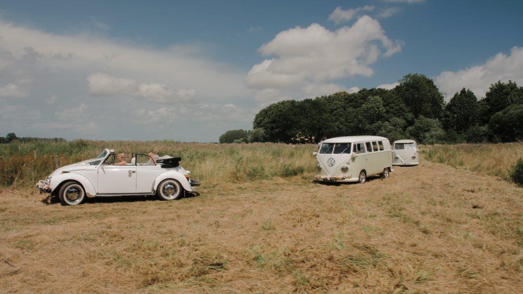 VW camper van arrives at wilderness wedding venue in Kent