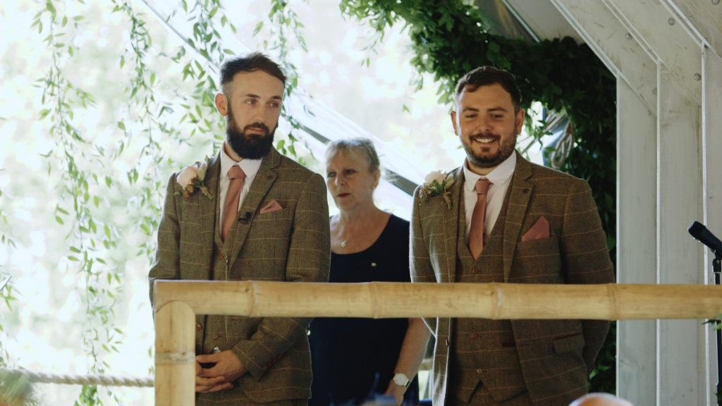 groom waits with his best man for bride at wilderness wedding venue in kent