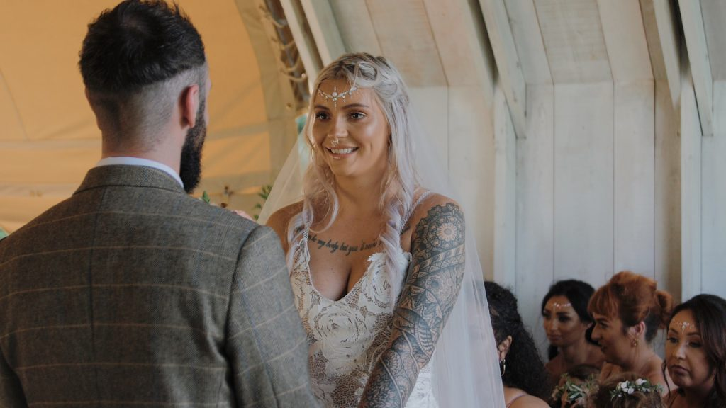 Bride during the vows at wilderness weddings in Kent