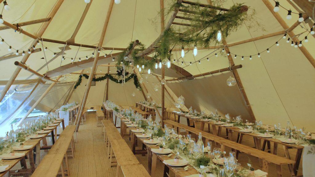 inside tipi at wilderness weddings