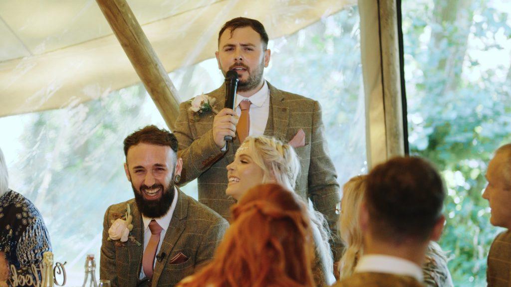 best man performs speech at wilderness weddings in kent