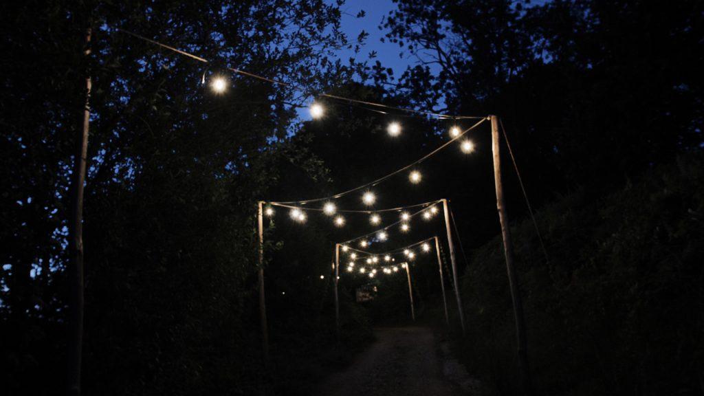 lights glow at wilderness weddings kent