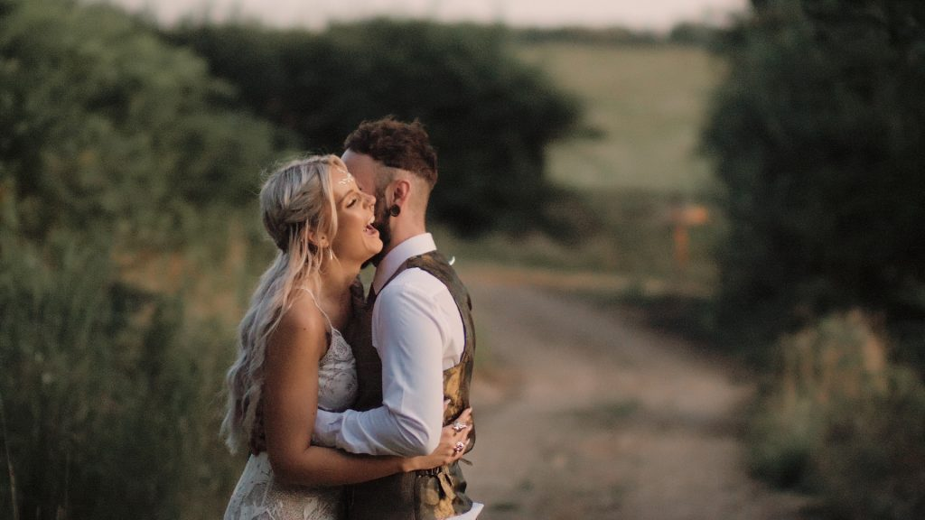 Wilderness weddings video Kent couple laughing